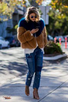 Rad fur coat, patchwork denim, and lace-up booties.