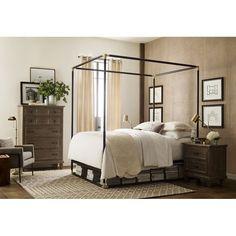 Furniture of America Karis Linen Headboard Metal Canopy Bed Queen Canopy Bed, Metal Canopy Bed, Curtain Rod Hardware, Curtain Panels, Balkon Design, Canopy Design, Decor Pillows, Modern Spaces, Bedroom Furniture