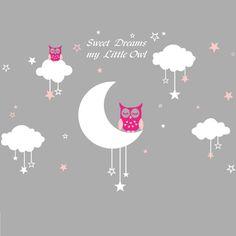Muursticker uiltjes op maan en wolk met sterren<br /> Deze lieve uiltjes staan mooi op de kinderkamer of babykamer.