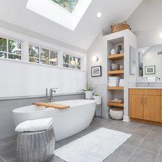 White Master Bathroom, Gray Bathroom Decor, Bathroom Spa, Small Bathroom, Bathroom Ideas, Bathroom Remodeling, Remodled Bathrooms, Upstairs Bathrooms, Green Bathrooms