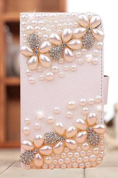 3D Pearl Flowers Bling Crystal Rhinestone Diamond Flip Wallet Leather Case Cover