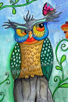 Hey, I found this really awesome Etsy listing at https://www.etsy.com/listing/287708795/whimsical-owl-eugen-mixed-media-painting