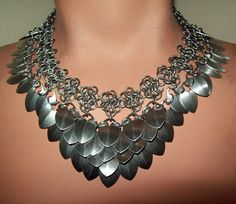 Chainmaille necklace scalemail choker by Eternalelfcreations, $40.00