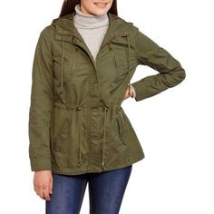Maxwell Studio Women's Long Twill Hooded Anorak Jacket, Size: XS, Green