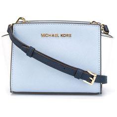 Michael Michael Kors Mini Selma Crossbody Bag ($169) ❤ liked on Polyvore featuring bags, handbags, shoulder bags, blue, blue shoulder bag, mini crossbody purse, mini crossbody, leather purse and crossbody handbags