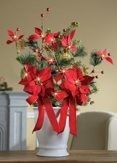 Holiday Poinsettia Lighted Branches Stakes