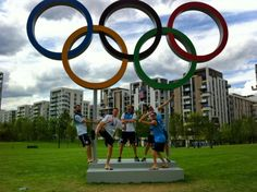 My favorite Spur, Manu Ginobili, under the Olympic rings with some of his teammates from the Argentina basketball team.