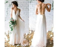 V-Neck Beach Chiffon Sleeveless Long  Elegant Wedding Dress