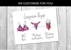 Lingerie Size Card Printable, Lingerie Size Insert Lingerie | by Pretty Printables Ink on Etsy. This lingerie size insert is the perfect way to share the bride's measurements for a lingerie shower or lingerie party at your bachelorette! Matching invite available as well. We customize, you simply print #lingerieshower #lingerieinsert #lingeriesizecard #lingeriesizeinsert #lingerieparty #bridalmeasurements #braandpantysize #brandpantygame