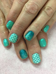Mermaid Nails! Sea foam Indigo Emerald Mermaid powder, Holo Ombré Glitter and Stamped Gel Nails