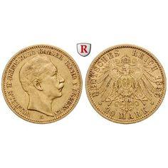 Deutsches Kaiserreich, Preussen, Wilhelm II., 20 Mark 1890, A, ss+, J. 252: Wilhelm II. 1888-1918. 20 Mark 1890 A. J. 252; GOLD,… #coins