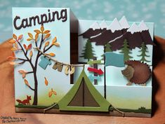 Mary's card using Camping Clothesline, Camping Phrases, Campsite, Snowcapped Mountains, Forest Critters and Woodland Friends dies