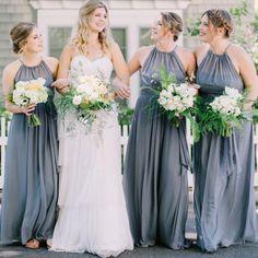 A-Line Crew Long Floor-Length Grey Chiffon Cheap Sleeveless Bridesmaid Dresses Online, Country Wedding Dresses, Wedding Gowns, Wedding Flowers, Bridesmaid Dresses Under 100, Dream Dress, Wedding Stuff, Wedding Ideas, Dream Wedding, Wedding Inspiration