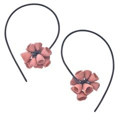 Ruth Tomlinson Oxidized Silver, Pink Porcelain Earrings at Jewelista