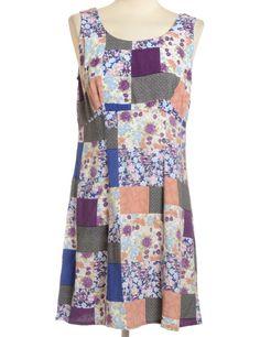 Vintage Beyond Retro Label Short Dress Multi-colour | Beyond Retro