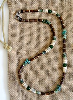 Men's Irish Vintage Style Dirty Green Turquoise Necklace – Earth Ocean Fire Jewelry