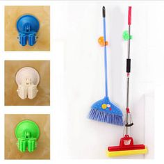 Holder New Broom Storage Hanger Mop Organizer Vacuum Cup Suction House Wall