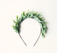 Leafy green headband, Grecian-inspired goddess head piece, green leaf crown -