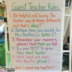 Do you dread being away from your classroom? Do your students fall apart when there is a guest or substitute teacher in the room? Make your sub rules & expectations explicitly clear with an anchor chart like this one!
