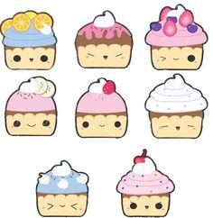 Kawaii cupcakes Chibi Kawaii, Kawaii Doodles, Cute Doodles, Kawaii Art, Kawaii Drawings, Doodle Drawings, Doodle Art, Cute Drawings, Kawaii Illustration