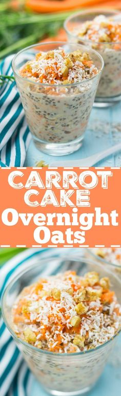 These carrot cake overnight oats with chia seeds, walnuts, and coconut flakes are so delicious and super easy to make. Plus, they& incredibly healthy! These carrot cake overnight o Oats Recipes, Raw Food Recipes, Cooking Recipes, Healthy Recipes, Healthy Food, Breakfast And Brunch, Vegan Sweets, Vegan Desserts, Vegan Cake