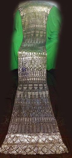 Perfect and very long antique vintage 1920s Assuit shawl silver metal