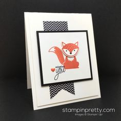 "Foxy Friends stamp set and Fox Builder Punch ""miss you"" card created by Mary Fish, Stampin' Up! Demonstrator.  1000+ StampinUp & SUO card ideas.  Read more http://stampinpretty.com/2016/06/foxy-friends-miss-card.html"