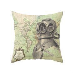 Deep Sea Diver and Vintage Nautical Map / 2 Styles /  Accent Pillow Cover… Gaming Lounge, Accent Pillows, Throw Pillows, Deep Sea Diver, Vintage Nautical, Decorative Pillows, Pillow Covers, Geek Stuff, Map