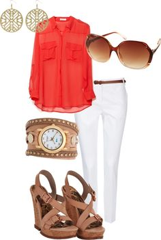 White jeans, wedges, coral & gold. Classic, elegant, but cool. Could do w/ out the watch though.