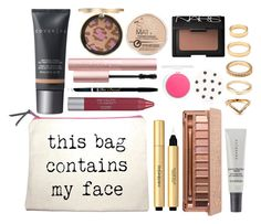 """""""What's in my Makeup Bag"""" by dceee ❤ liked on Polyvore featuring beauty, Topshop, Too Faced Cosmetics, NARS Cosmetics, Revlon, Rimmel, Cover FX, Urban Decay and Forever 21"""