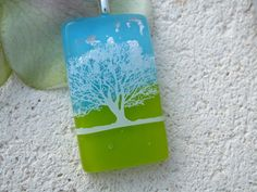 Horizon Life - Tree Necklace - Tree Pendant -  Fused Dichroic Glass Jewelry - Dichroic Glass Necklace - Blue Skies 052513p109