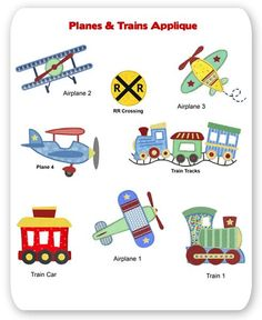 Planes And Trains Applique Baby Applique, Baby Embroidery, Embroidery Monogram, Free Machine Embroidery Designs, Hand Embroidery Patterns, Applique Patterns, Applique Quilts, Applique Designs, Quilt Baby