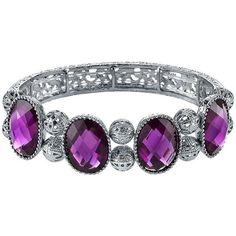 1928 Filigree Bead Stretch Bracelet (Purple) (34 AUD) ❤ liked on Polyvore featuring jewelry, bracelets, purple, filigree bracelet, jade bangle, beaded stretch bracelet, bead bracelet and bracelet bangle