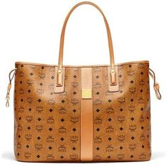Women's Mcm 'Large Liz' Reversible Shopper ($665) ❤ liked on Polyvore featuring bags, handbags, tote bags, cognac tote, shopping bag, structured handbags, mcm handbags and mcm tote bag