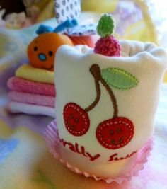 Cherry Appliqued Infant Onezee Cupcake 100 by mollbelldesigns, $8.50