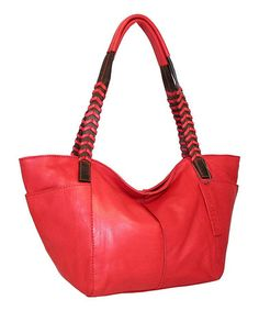 Another great find on #zulily! Red Medium Whip It Leather Tote by Nino Bossi Handbags #zulilyfinds