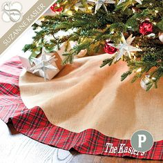 Suzanne Kasler Burlap & Red Plaid Tree Skirt