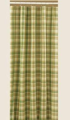 Park Designs Lemongrass Yellow Green Bisque Blue Plaid Fabric Shower Curtain