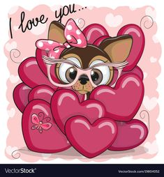 Photo about Valentine card with Cute Cartoon Puppy Girl in hearts. Illustration of cute, flower, image - 107748477 Girl Cartoon, Cute Cartoon, Cartoon Images, Cartoon Dog, Puppy Care, Pet Puppy, Cartoon Mignon, Art Mignon, Online Pet Supplies