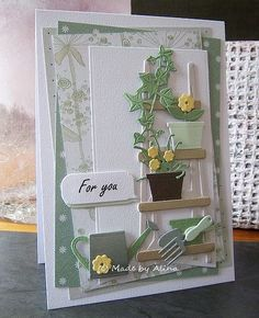 card plant flower pot flowerpots potted plants ladder garden greens greenery Marianne design craftables classic alphabet - Marleens Greenery Marleens shelves - For you Cricut Cards, Stampin Up Cards, Ballon Party, Diy Halloween Dekoration, Marianne Design Cards, Birthday Cards For Men, Diy Birthday, Beautiful Handmade Cards, Card Sketches