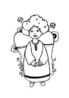 Coloriage de noël, un angelot tout content entouré de jolies fleurs