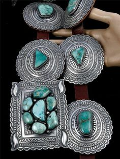 A Glorious Andy Cadman Carico Lake Turquoise Concho Belt Sterling Silver Navajo | eBay