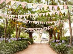 vintage bunting for outdoor wedding ceremony Garden Wedding, Summer Wedding, Diy Wedding, Dream Wedding, Party Wedding, Wedding Ideas, Wedding Bunting, Wedding Ceremony Decorations, Decor Wedding