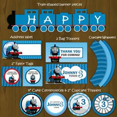 Thomas the Train Printable Birthday Party Package - Thomas Train Complete Birthday Set - Invitation, cupcake toppers, banner etc. $27.00, via Etsy.