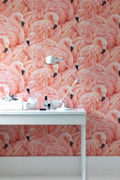 This wallpaper tho! Would look cute in a bathroom This flamingo wallpaper feels both retro and fresh at the same time. The texture of the feathers adds an unexpected depth to this wallpaper look. Flamingo Wallpaper, Pink Wallpaper, Wallpaper Toilet, Unusual Wallpaper, Wallpaper Awesome, Wallpaper Patterns, Wallpaper Ideas, Inspirational Wallpapers, Deco Design