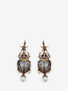 Alexander Mcqueen Beetle Earrings - Antique Gold