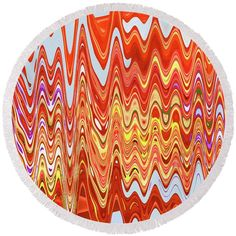 """Dish Of Apples Abstract Round Beach Towel by Tom Janca.  The beach towel is 60"""" in diameter and made from 100% polyester fabric."""