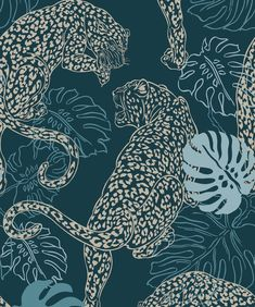 Sample Leopard Wallpaper in Cobalt from the Kingdom Home Collection by Milton & King Wallpaper Art Deco, Home Wallpaper, Wallpaper Roll, Peel And Stick Wallpaper, Designer Wallpaper, Bathroom Wallpaper, Leopard Wallpaper, Monkey Wallpaper, Animal Wallpaper