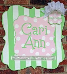 Personalized Stripe and Polkadot Baby Sign For Hospital Door (Light Green/ Light Pink) Children  Housewares  Room Decor  Sign  wreath  personalize  door decor  door hanger  door decoration  baby shower TeamEtsyBABY  door  baby  monogram  hospital  Sparkled Whimsy