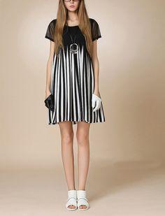 Black-white stripe dress chiffon dress womens dress fashion dress short sleeve dress ---WD192